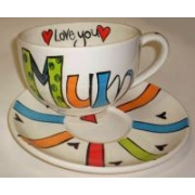Handpainted Mug - Funky Mum Giant Mug and Saucer